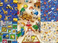 Building 101 Construction Tools Novelty Quilting Cotton Masks Fabric PBS Blue