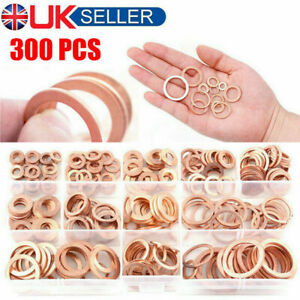 300Pcs Assorted Solid Copper Car Engine Washers Crush Seal Flat Ring Gasket Sets