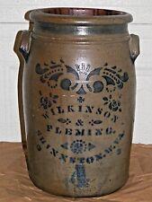 Antique Stoneware Crock Jar 4 Gal Shinnston WVa/West Virginia, Wilkinson Fleming
