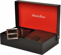 MENS ASHFORD RIDGE COATED LEATHER BELT & WALLET GIFT SET IN BLACK OR BROWN