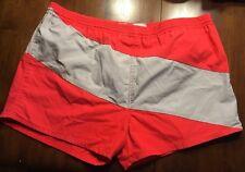 Rare Men's Vtg 1970s Shorts Swim Trunks Freestyle Red Gray Color Block Large