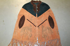 Handmade Poncho Cape Suede Leather Fringe Coat Western Horses Boho Folk Art