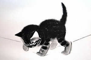 Newberry SWEET KITTEN Nose to Ground 1936 Baby Cat Illustration Art Print Matted