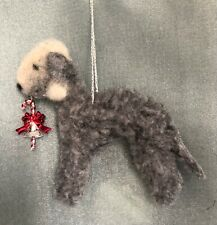 BEDLINGTON TERRIER dog Christmas hanging tree decoration. Part NEEDLE FELTED