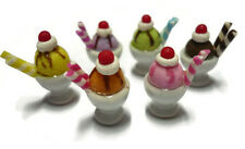 Set of 6 Ice-Cream Sundae in Mini Cup Dollhouse Miniatures Food Supply Deco