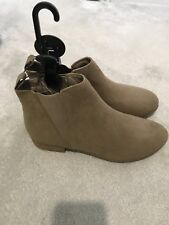 Ladies Faux Suede Beige Flat Ankle Boot Size 8 BNWOT
