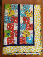 """Vtg 80's Dr Seuss Books Quilt Blanket 59x45"""" **STAIN**"""