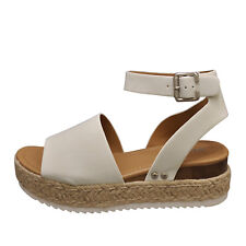 Soda TOPIC Off White Women's Platform Wedge Espadrille Sandals