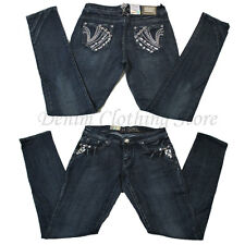 Wholesale Lot of 8 Women Juniors Rhinestone Denim Skinny Jeans Mixed Sizes