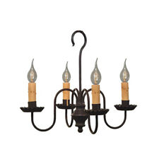 4-arm Peppermill Metal Chandelier Light | Primitive Colonial Country Lighting