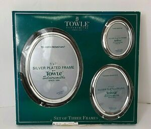 Towle Silversmiths Picture Frame Set Oval Silver Plate Set of 3 NEW