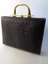 RODO Vintage Dark Brown Large Rattan Clamshell Handbag Brass Lucite Handle ITALY