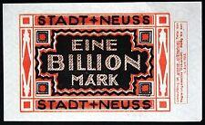 NEUSS 1923 1 Trillion Mark *rare* hyperinflation banknote Notgeld Germany