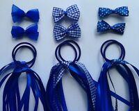Blue Gingham School Ribbon Hair Streamer Scrunchie Bobble/Band Clip Slide Bow