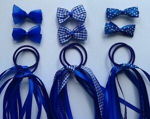 Royal Blue Gingham School Hair Ribbon Scrunchie Bobble/Band Clip Slide Bow