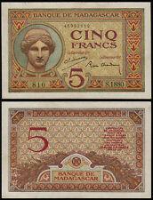 MADAGASCAR 5 FRANCS (P35) N. D. (1937) AU/UNC