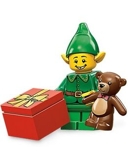Lego collectible minifig series 11 Holiday Elf with teddy bear christmas present