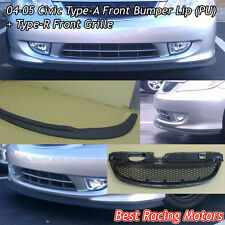 A Style Front Bumper Lip (Urethane) + TR Style Grill (ABS) Fit 04-05 Civic 2/4dr