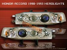 1990-1993 HONDA ACCORD PROJECTOR HEADLIGHTS CHROME NEW 1991 1992