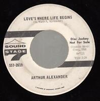 HEAR! Northern Soul Promo 45 ARTHUR ALEXANDER Love's Where Life Begins on Sound