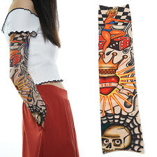 Heart Skulls Halloween Women Slip on Stocking Fake Arm Temporary Tattoo Sleeves
