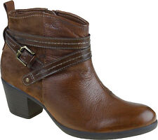Earth Origins Women's Raven Leather Buckle Ankle Boots Almond Brown Size 8