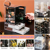 Dustproof Transparent Acrylic Earrings Jewelry Storage Drawers Box Display Stand