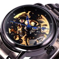Skeleton Automatic Mechanical Mens Wrist Watch Steampunk Black Stainless Steel