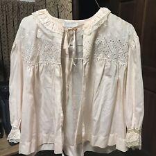 Bed Jacket by Barbizon Size Medium Pink Eyelet Vintage Retro Fine Cotton M