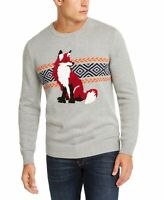 Club Room Mens Sweater Gray Size Large L Crewneck Fox Knit Ribbed Trim $65 067
