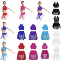 Girl Kid Ballet Crop Top Skirt Dance Outfit Gymnastic Latin Tutu Dress Dancewear
