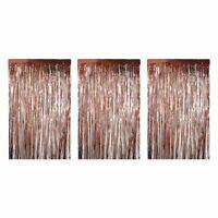 3x Rose Gold Metallic Fringe Curtains Party Decoration Wedding Photo Backdrop