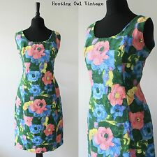 VINTAGE 1950S ORIGINAL WIGGLE DRESS FLORAL RETRO JACKIE O FITTED BOUCLE SHIFT 10