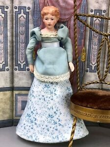 Vintage Artisan Dollhouse Bisque Lady Mother Doll Molded Bun Pretty Silk Clothes