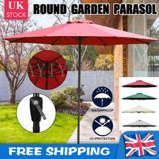 UK Adjust 2.7M Garden Parasol Sun Shade Patio Outdoor Steel Round Umbrella Crank