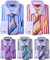 Men's Unique Stripe shirt With Tie & Hanky Matching Color Cat Eyes Cufflinks 629