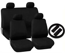 Black Cloth Seat Covers 4 Headrests Steering Wheel Cover 13pc CS2