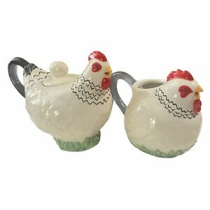 J. Willfred Sadek Set Of 2 Rooster Sugar & Creamer- Pours out of mouth- Unique-