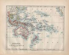 1900 VICTORIAN MAP ~ OCEANIA ~ AUSTRALIA NEW ZEALAND MICRONESIA PHILIPPINE
