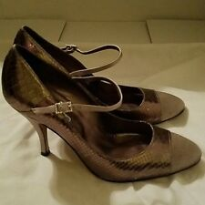 "Charles David ""Ping"" Pewter Leather & Taupe Satin Cap Toe Mary Janes 9.5"