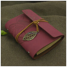 Leaves Leather Bound Journal Portable Notebook Blank Books Refillable Rose Red