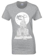 Cuento de Hadas Libro Camiseta Mujer Bonito Story Dragon Castillo Fantasía Luna