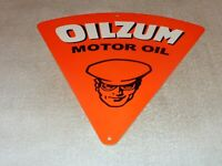 "VINTAGE OILZUM MOTOR OIL DIECUT CHAUFFEUR 12"" METAL CAR GASOLINE PUMP PLATE SIGN"