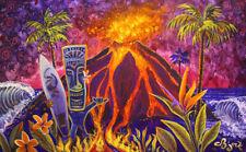 Tiki Surfer Hula Hawaiian Island Art Painting CBjork PRINT
