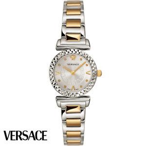 Versace VEAA00418 Mini Vanity silber gold Edelstahl Armband Uhr Damen NEW