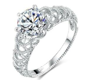 Stunning Silver Plated simulated Diamond Ring, (Anniversary, Engagement, Gift)