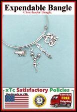 Cheerleader Theme: Silver Cheerleading Charms Expendable Bangle Bracelet.