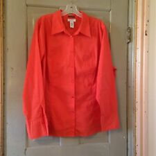 Avenue 22/24 2X Top Blouse Long Orange Stretch Career Casual Roomy Layer   C4