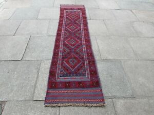 Vintage Hand Made Afghan Mushvani Oriental Red Blue Wool Narrow Runner 261x67cm