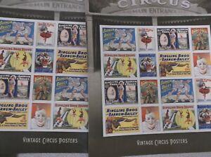 "US #4905b MNH Vintage Circus Posters IMPERF ""no die cuts"" Stamp Sheet"